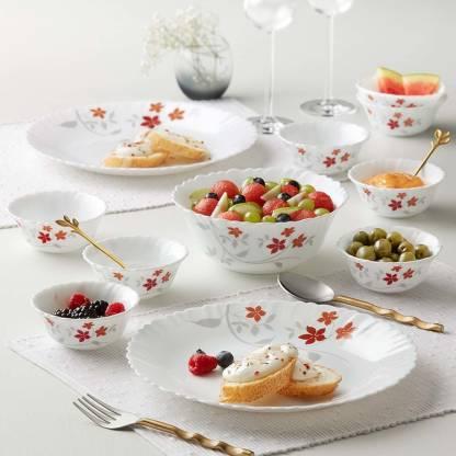 Larah by Borosil Pack of 17 Opalware Dinner Set
