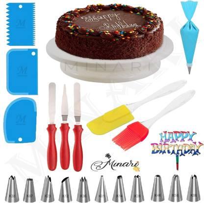 MINARI unique cake combo 174 Cake Decoration Full Set Cake Turn Table,12 Pcs Nozzle, Oil Brush With Spatula4 Pcs Scrapper,3 in 1 knife , happy birthday tag Multicolor Kitchen Tool Set