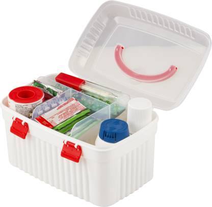 POLYSET First Aid Multi-Purpose Medicine Storage Box with Detachable Tray and Handle  – 3 L Plastic Utility Container(White)