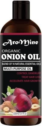 AroMine 100% Pure & Natural ONION Herbal Hair Oil - Blend of 14 Natural Oils for Hair Regrowth, Treat hair loss, Dandruff Control & Thickens hair( 100 ml) Hair Oil (100 ml) Hair Oil
