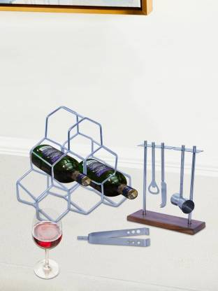 Nestroots Wine Rack Bar Cabinet for Home Wine Bottle Holder bar Accessories Mini bar Counter, DoBartender kit Bar Tools Set bar Accessories, bar Decoration Mini bar for Home peg Measurer, Cheese Knife with Stand for Wine Making Equipment Home kit Set of 4 Silver 6 Slice Toast Rack