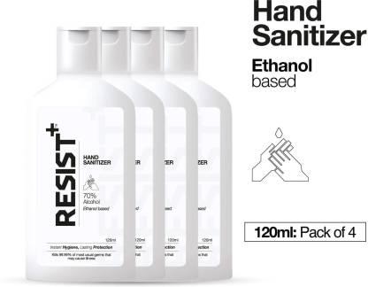 Resist+ Pack of 4 – 70% Ethanol Alcohol-Based  480ml Hand Sanitizer Bottle(4 x 120 ml)