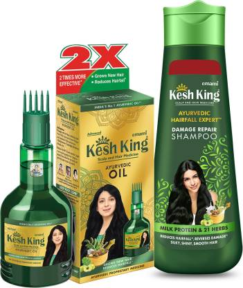 Kesh King Ayurvedic Oil 300ml + Damage Repair Shampoo 340ml(2 Items in the set)