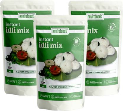 envirofoods Instant Idli Mix Pack of 3   Ready Mix 250g x 3 packets 750 g