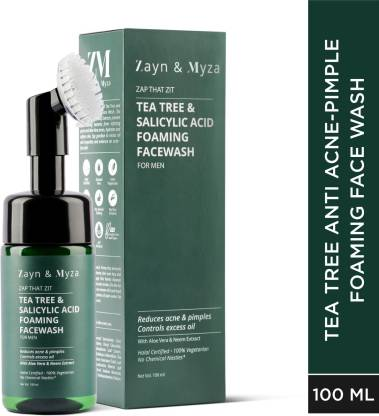 ZM Zayn & Myza Tea Tree & Salicylic Acid Foaming  With Built-In Deep Cleansing Brush For Men - With Aloe Vera & Neem Extracts, Reduces Acne & Pimples, Controls Excess Oil Face Wash