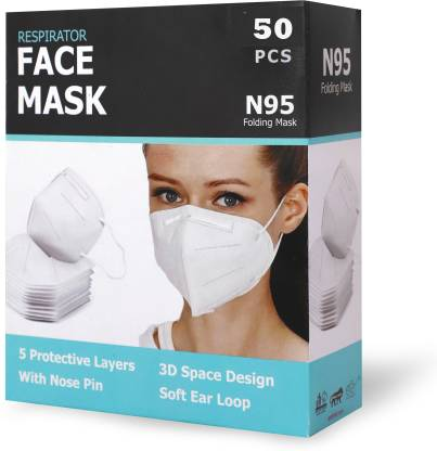 KATHIYAWAD SHOPPING N95 / KN95 FFP2 5 Layer Reusable Anti - Pollution , Anti - Virus Breathable Face Mask N95 Washable ( White ) for Men , Women and Kids 5FM Reusable Mask