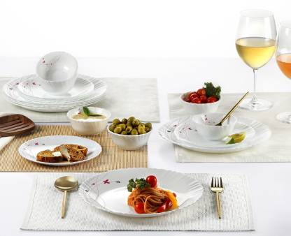 cello Pack of 18 Opalware Cello Dazzle Lush Fiesta Opalware Dinner Set, 18 Pieces Dinner Set