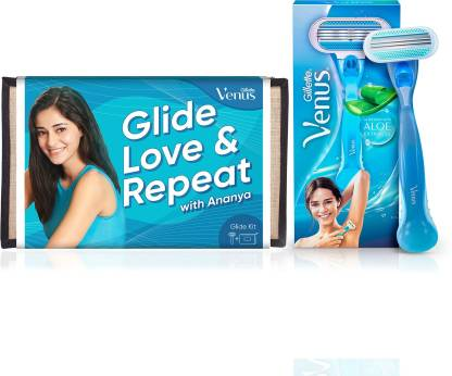 Gillette Venus Hair Removal Razor with Aloe Extracts + Beauty Pouch