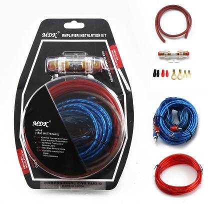 Bestor 4.5M 8GA RED TRANSPARENT POWER CABLE, 0.8M 8GA BLACK TRANSPARENT GROUND CABLE, 5M RCA INTERCONNECT CABLE, 5M 18GA BLUE REMOTE CABLE, Two 8GA Ring Terminals, Two 8GA Spade Terminals, Two 18GA Butt Connectors, One AGU 60A FUSE HOLER Combo