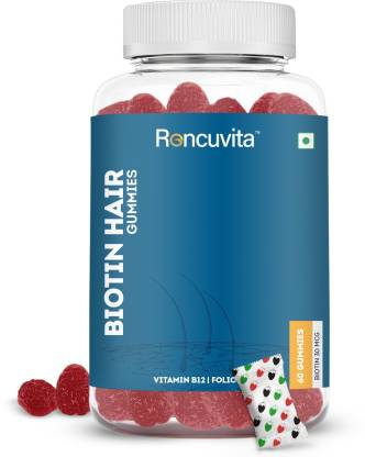 RONCUVITA Biotin Gummies 5000mcg for Hair, Skin Nails - 60 Veg Gummies Strawberry Flavor
