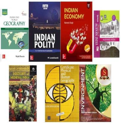 BEST IAS/UPSC COMBO  INDIAN POLITY BY M LAXMIKANTH, CERTIFICATE PHYSICAL AND HUMAN GEOGRAPHY , ENVIRONMENT, HISTORY OF MODERN INDIA, INDIAN ECONOMY BY RAMESH SINGH ,INDIAN AND WORLD GEOGRAPHY,HISTORY OF MEDEIVAL INDIA  (Best Book COMBO For IAS,IPS,IFS,UPSC,PSC,Civil Services,UGC-Net And All Indian Govt Exam) (Papar Back,COMBO,ENGLISH)