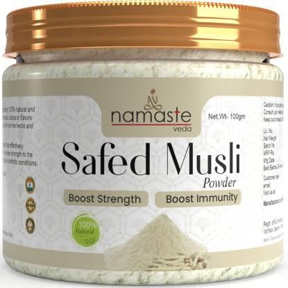 Namaste Veda 100% Pure and Natural Safed Musli Root Powder for Inner Strength & Vitality, Stamina & Performance, Natural Immunity; Chlorophytum Borivilianum