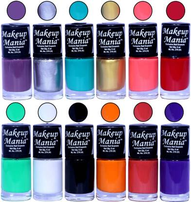 Makeup Mania HD Color Nail Polish Set of 12 Pcs (Combo MM-145) Purple, Silver, Turqoise, Golden, Bright Pink, Red, Sea Green, White Base, Black, Light Orange, Coral Red, Blue