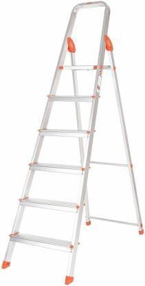 Bathla Advance 6-Step Foldable (with Sure Hinge Technology) Orange Aluminium Ladder