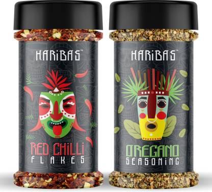 HARIBAS Combo of Red Chilli Flakes & Oregano Sprinkler, 100g Each