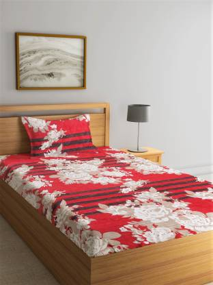 Flipkart SmartBuy 144 TC Microfiber Single Floral Bedsheet(Pack of 1, Maroon)
