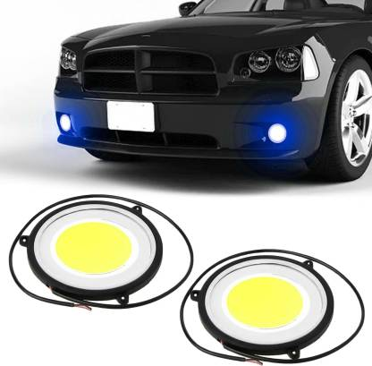 CARZEX Premium Car DRL Blue/White Waterprof Daytime Running Light with Turn Indicator Signal Flexible Round Shape White LED Lights Driving lamp COB Lights car-Styling 2pcs 12V DC For All Cars Car Fancy Lights