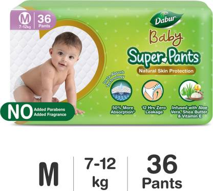 Dabur Baby Super Pants | Infused with Aloe Vera, Shea Butter & Vitamin E | Insta-Absorb Technology | 12 Hrs Zero Leakage – M(36 Pieces)