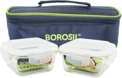 Borosil Microwavable Klip N Store Square 320 Ml 2 Containers Lunch Box