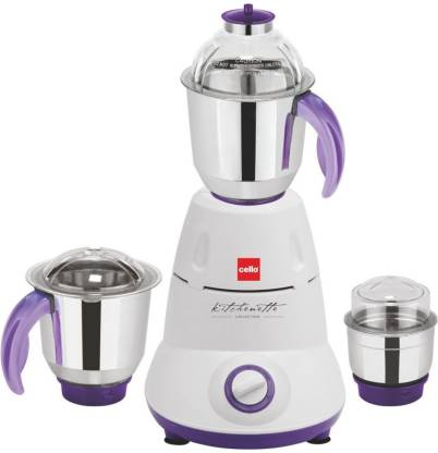 cello Grind-N-Mix 500 550 W Mixer Grinder (3 Jars, White)