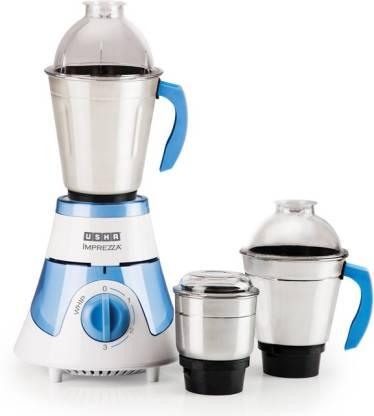 USHA Imprezza IMPREZZA 600 W Mixer Grinder (3 Jars, White, Blue)