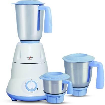 Kenstar Slender-6 600 W Mixer Grinder (3 Jars, White, Blue)