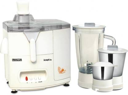 Inalsa Icon Dx 450 W Juicer Mixer Grinder (3 Jars, White,Grey)