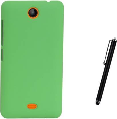 Kolor Edge Back Cover + Stylus Pen For Microsoft Lumia 430 - Green Accessory Combo