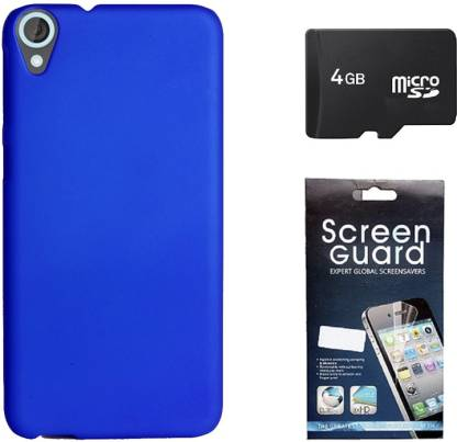 Kolor Edge Back Cover, Screen Guard, 4GB Memory Card for HTC Desire 820 - (A1212) Accessory Combo