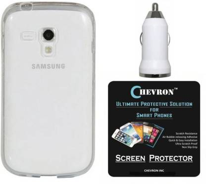 Chevron Silicono Soft Back Cover with HD Screen Guard & USB Car Charger for Samsung Galaxy S Duos 2 S7582 Accessory Combo