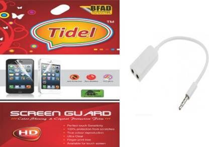 Tidel Ultra Clear Hd Screen Guard For Xolo A500 Club With Audio Splitter Accessory Combo