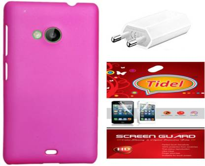 Tidel Back Cover with Screen Guard & Wall Charger For Nokia Lumia 535 Accessory Combo