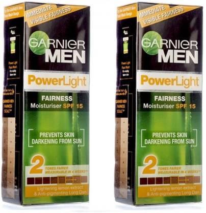 GARNIER Men Power Light Intensive Fairness Moisturizer SPF15 (Pack of 2)