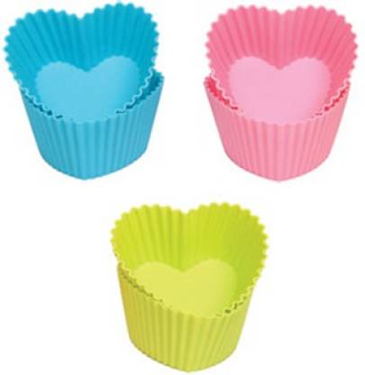 Toygully Silicon Heart Cup Cake Muffins Mould Cupcake/Muffin Mould