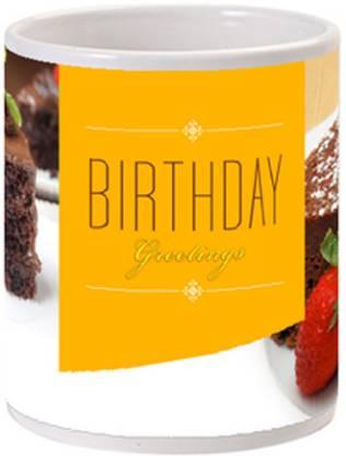 Allthingscustomized Birthday Cake Greetings Cup Ceramic Coffee Mug