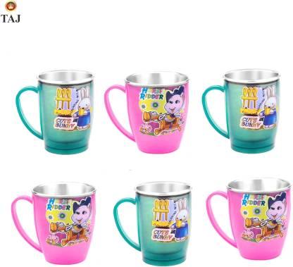 TAJ S.S Inner Fancy Cups Medium(Set Of 6 Pcs) Stainless Steel, Plastic Coffee Mug