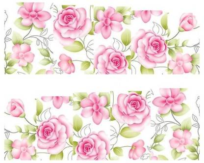 SENECIO™ Lovely Pink Rose French Nail Art Manicure Decals Water Transfer Stickers 1 Sheet