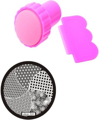 SENECIO™ 3 in 1 DIY Floral Geometric Pattern Nail Art Silicon Stamping Kit Manicure Set