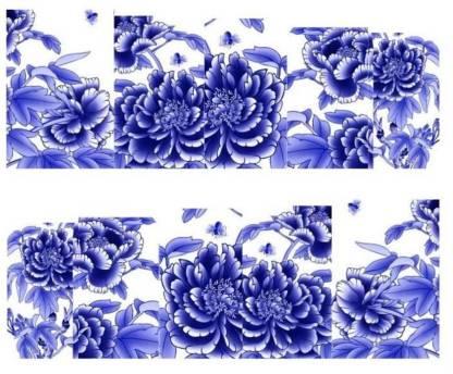 SENECIO™ Royal Blue White Flower Full Wraps Nail Art Manicure Decals Water Transfer Stickers 1 Sheet