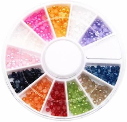SENECIO™ Mix Sizes 12 Candy Color Shiny Half Round Flatback Pearls Nail Art Stickers Tips 3D Decoration 6cm Wheel