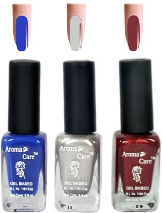 AROMA CARE Silver+Red Matte Nail Polish Combo 6-10-519 Multicolor,