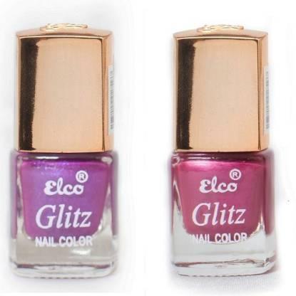 Elco Glitz Premium Nail Enamel-Pack of 2 Magenta Pearl, Purple Pearl