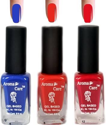 AROMA CARE Blue+Pink Matte Nail Polish Combo 6-8-12 Multicolor,
