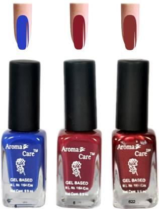 AROMA CARE Red+Maroon Nail Polish Combo 6-9-622 Multicolor,