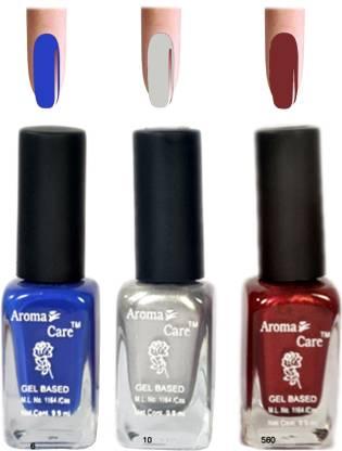 AROMA CARE Maroon+Silver Nail Polish Combo 6-10-625 A Multicolor,