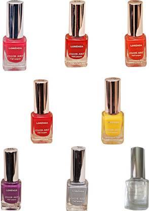 Lorenza Combo Set-1 Nail Lacquer (Pack Of 8) Base & Top Coat-010, Hellow Yellow-250, Kiss Me-309, Bombshell-340, OMG-404, Rrred-515, Lavender-625, Grey Shades-911