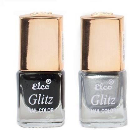 Elco Glitz Premium Nail Enamel-Pack of 2 Midnight Black, Electric Silver