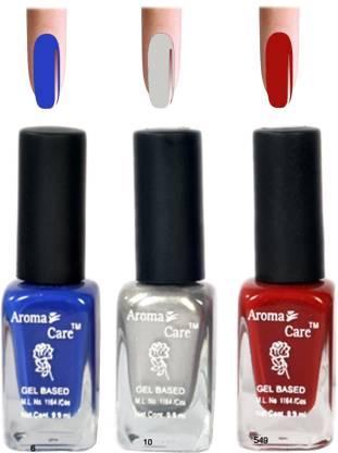 AROMA CARE Silver+Red Matte Nail Polish Combo 6-10-549 Multicolor,