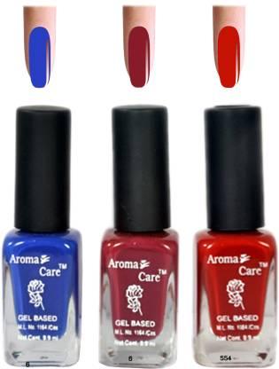 AROMA CARE Red+Blue Matte Nail Polish Combo 6-9-554 Multicolor,