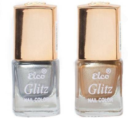 Elco Glitz Premium Nail Enamel-Pack of 2 Electric Silver, Golden Hue
